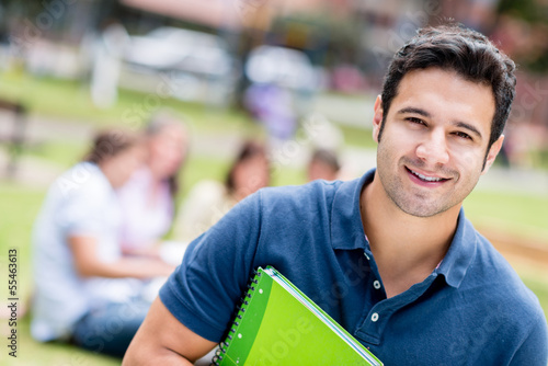 Happy male student