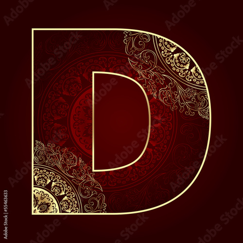 Vintage alphabet with floral swirls, letter D