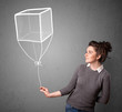 Woman holding a cube balloon