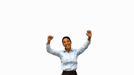 Cheerful businesswoman raising arms on white screen