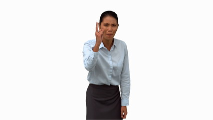 Angry businesswoman pointing on white screen