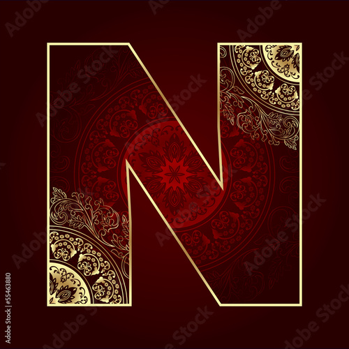 Vintage alphabet with floral swirls, letter N