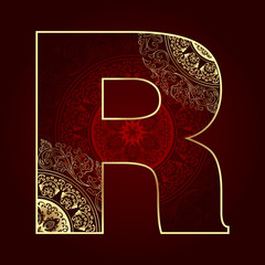 Vintage alphabet with floral swirls, letter R