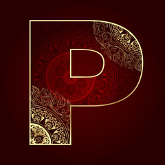 Vintage alphabet with floral swirls, letter P