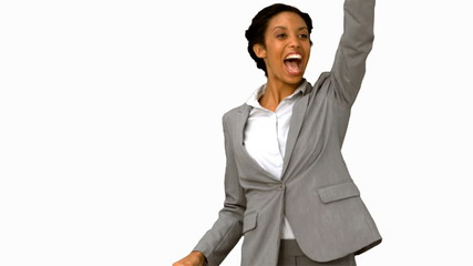 Cheerful woman waving at someone on white screen