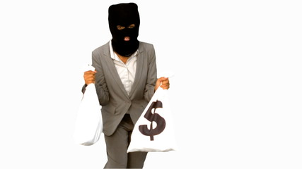 Burglar holding money bags on white screen
