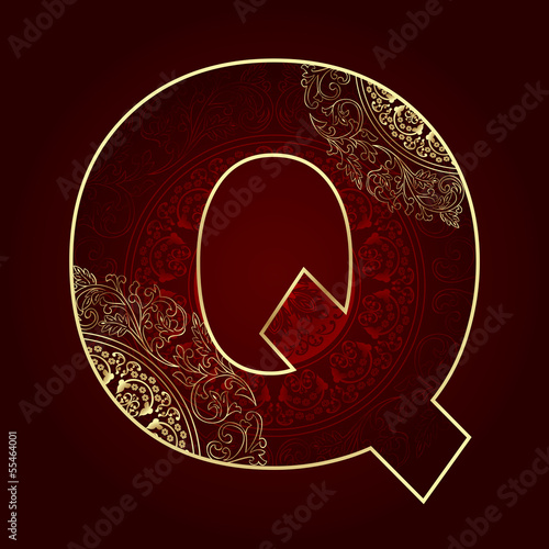 Vintage alphabet with floral swirls, letter Q