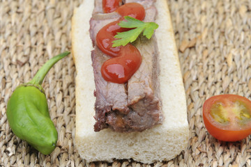 steak sandwich with pepper and tomato. Beef snack