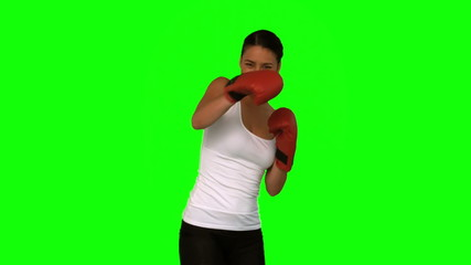 Attractive woman boxing