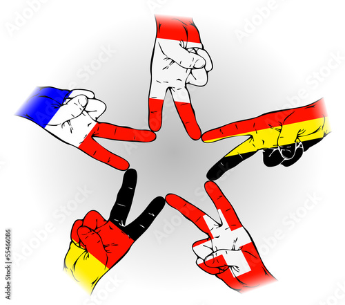 Peace Sign of the German, Austrian, Dutch, Swiss, Belgian flags
