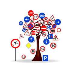 Abstract Design - Tree with traffic signals