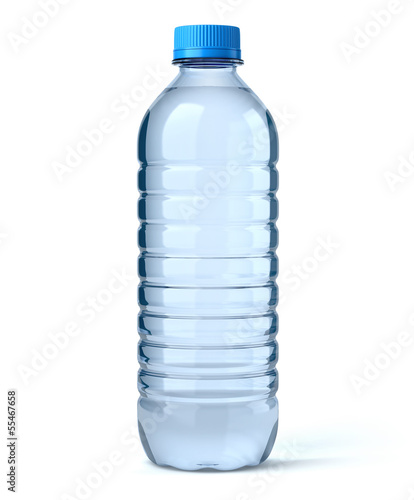 Foto Spatwand Water Bouteille d'eau sur fond blanc 1