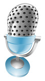 Illustration of shiny blue microphone