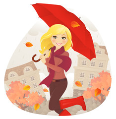 Girl with umbrella in fall