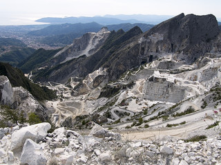 Carrara marble quarries, Italy - view to the sea