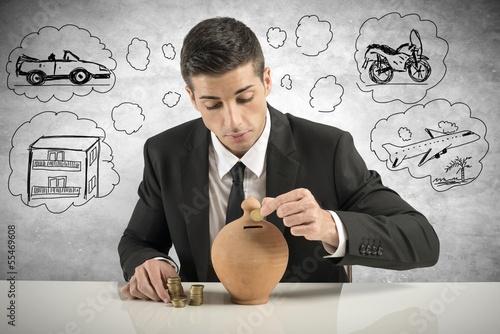 Businessman save money