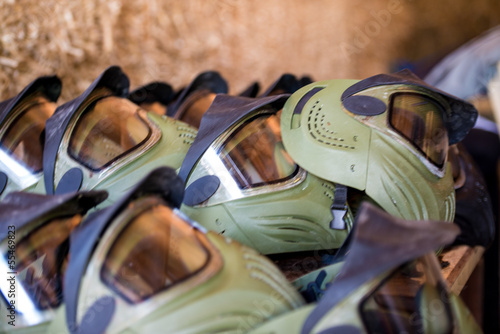 Paintball masks in a row
