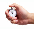 canvas print picture - Hand with a stopwatch.