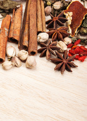 spices on wood background