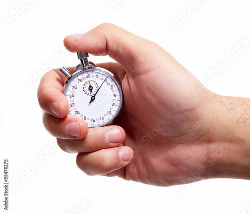 Leinwanddruck Bild - Kurhan : Hand with a stopwatch.
