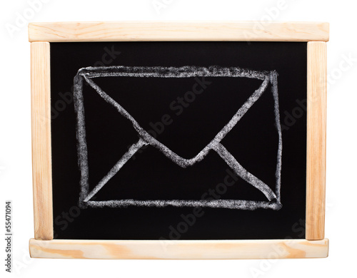 Mail symbol drawn on blackboard