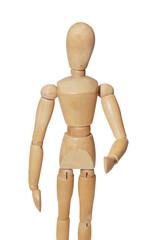 wooden mannequin in shake hand position