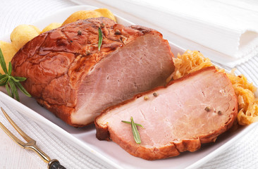 Pork loin on white plate