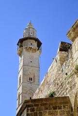 Omar Mosque minaret, Jerusalem.