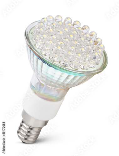 Closeup of LED light bulb isolated on white with clipping path