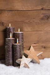 Vierter Advent - Weihnachtskarte mit vier Kerzen - Holz