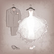 bride dress and groom's suit on grungy background - 55472439