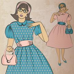 girl with handbag in retro style - vector illustration