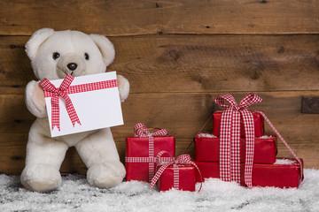 Weihnachtskarte in Rot, Weiß und Holz mit Teddybär