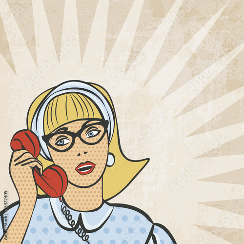 girl with telephone in retro style - vector illustration