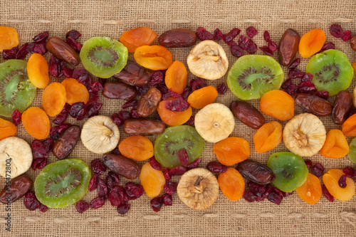 Line,dried fruit  and burlap