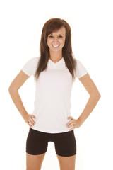 woman white fitness shirt standing