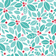 Vector Christmas holly berries seamless pattern background with
