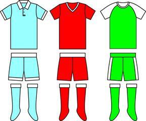 Different football Soccer uniforms. Vector