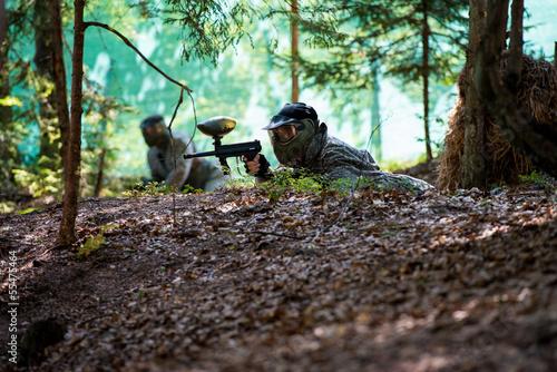 Fototapeta Paintball sniper ready for shooting
