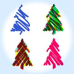 Unusual sketched Christmas tree set