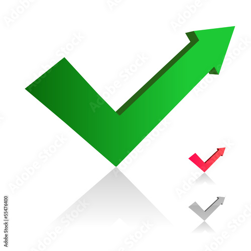 Arrow check mark icon set