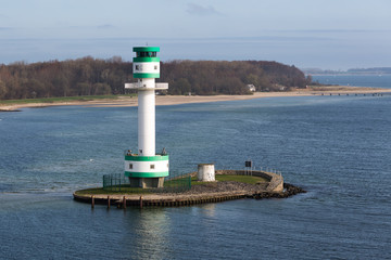 Lighthouse at a small island near the harbor of Kiel, Germany