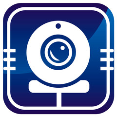 Webcam blue icon - Vector illustration isolated