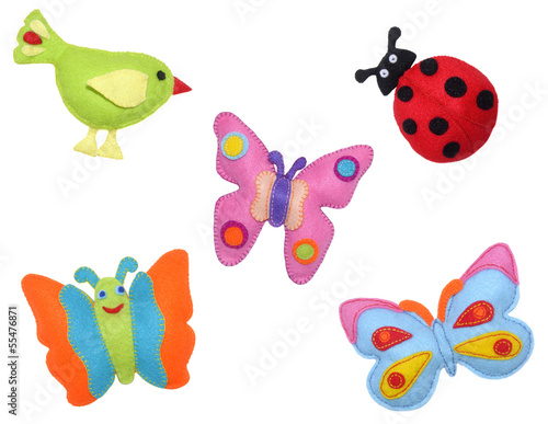 Bird, ladybug and butterflies
