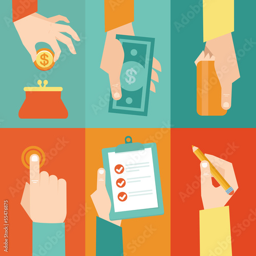 Vector set of hands  with money and contract