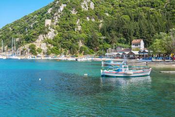 Greece ithaki island, traditional wooden fishing boats at ithaka