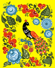 flowers and bird in Russian traditional gorodetsky style