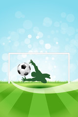 Soccer Background with Goalkeeper and Ball