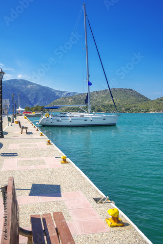 Greece ithaki island, traditional sailing yachts at ithaka islan