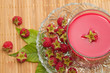 fresh raspberries drink,on wooden background